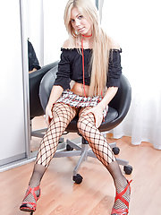 Teasing fishnet blonde