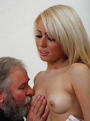 Cute blonde babe fucks old bearded guy