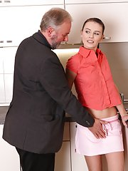 Katia sucks her older mans cock and takes his hard cock down her throat giving a wet blowjob to him.
