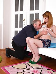 Being fucked in various positions by her older man, Sveta is fucked doggie style by him and loves his cock.
