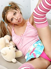 Pink stockings are the only thing on hot Amelia